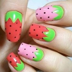Sweet strawberry tips ... nail length helps the art.