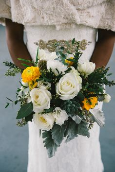 Winter bouquet with a pop of yellow