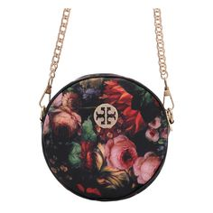Flower Print Round Chain Bag ($11) ❤ liked on Polyvore featuring bags, handbags, chain bag, floral bag, chain handbags, floral handbags and round handbag
