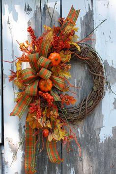 Fall Wreath, Pumpkins, Leaves, Plaid Bow via Etsy.