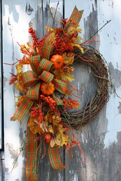 Fall Wreath, Pumpkins, Leaves, Plaid Bow