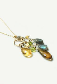 Gold Multi AAA Stone Waterfall Necklace with Whisky Topaz Labradorite Citrine & Peridot Fall Fashion
