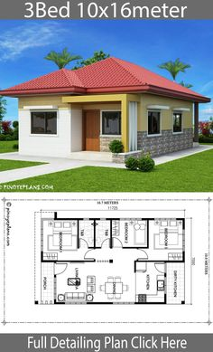 Home design with 3 bedrooms - House Plan Map Flat House Design, Bungalow Haus Design, Village House Design, Simple House Design, Bungalow House Plans, 3 Bedroom Bungalow, Simple Bungalow House Designs, Modern Small House Design, Duplex House Design