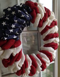 This unique burlap wreath would be great for a patriotic holiday or an everyday home decoration. Good for indoor or outdoor use but better in a