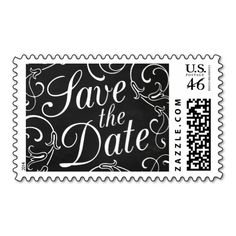 Elegant Chalkboard Save the Date Postage
