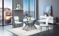 The picture of Modern Rectangular Glass Dining Table - Dining Room Tables With Glass. Dining Table Sizes, Glass Dining Room Table, Modern Dining Room Tables, Luxury Dining Room, Modern Table, Dining Rooms, Dining Furniture, Dining Set, Furniture Ideas