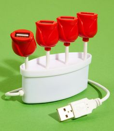 30 Silly Office Supplies Guaranteed to Make You Smile -- USB Tulip Hub Tech Gadgets, Cool Gadgets, Objet Wtf, Blogging, Hub Usb, Home Camera, Red Tulips, Red Flowers, Usb Drive
