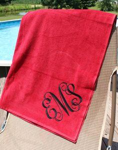 Standard Size//Heavyweight Single Initial Monogrammed Beach Towel