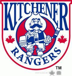 Kitchener Rangers Logo | Kitchener Rangers Primary Logo (1993) - A sheriff with a hockey stick ...