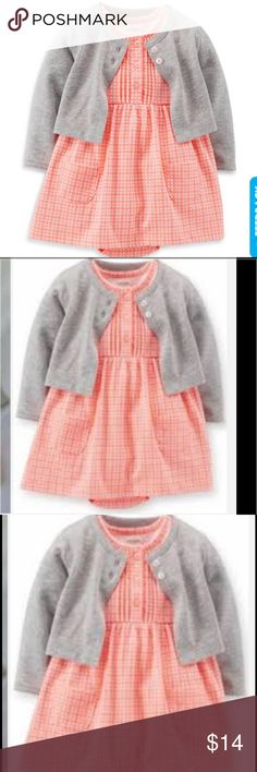 Carters 2Pc Cardigan & Bodysuit Dress Set in Red She'll look as sweet as pie in this 2-piece cardigan and bodysuit dress set from carter's. a red-checked bodysuit dress with a pleated placket and cap sleeves is layered with a grey sweater with red-accented buttons. Set is a cute mix of modern and traditional Set includes: Red-checked jersey bodysuit dress with pockets, pleated placket, cap sleeves, and bottom snaps on a reinforced panel for easy changes Heather grey cardigan with red…