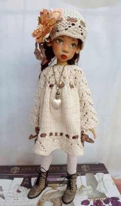 BAMBOO HAND KNITTED DRESS SET FOR MSD LAYLA  KAYE WIGGS DOLLSTOWN DT7 BY BARBARA