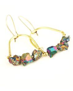 Pyrite Bird Cage Earrings - JewelMint