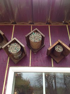 Cheap and easy Mason bee houses use my sauce cans Insect Hotel, Bug Hotel, Insect Box, Mason Bees, Bee House, Garden Bugs, Save The Bees, Companion Planting, Bees Knees