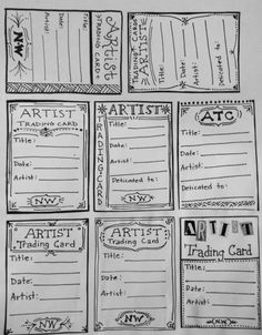 Artist Trading Card Template for back of ATC's.