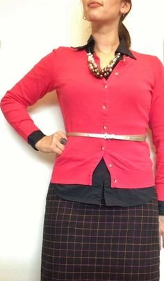 Hot pink and black @ the office #ootd #whatIwore #midwestwinterwear YesAndNazzy (at the office): Pearly and Plaid
