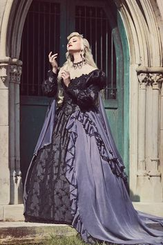 Grey and Black Gothic Sleeping Beauty Halloween Medieval Fantasy Wedding Dresses Fantasy Wedding Dresses, Fantasy Gowns, Wedding Dresses Plus Size, Wedding Gowns, Black Gothic Wedding Dresses, Party Gowns, Sleeping Beauty Halloween, Wedding Dress Sleeves, Gothic Dress