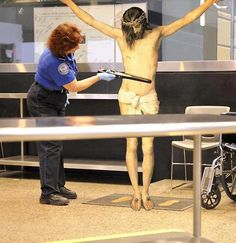Yisus going through airport Security