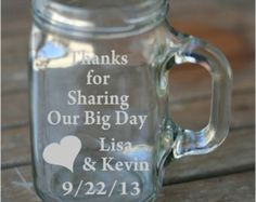 Country Mason Jar Drinking Glasses | Wedding Favor Personalized Etched M ason Jar Drinking Glass ...