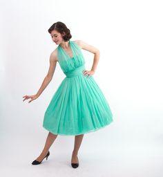 Vintage 1960s Party Dress - 60s Halter Dress - Seafoam Green. $208.00, via Etsy.