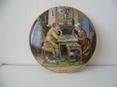 Antique Prattware Pottery  Pot lid, named   A Pair  original period item damage