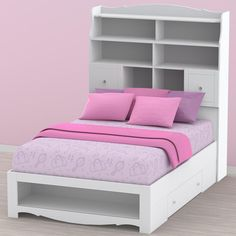 """Each piece from the Pixel collection like this Pixel 54"""" Double Size Storage Bed with High Headboard is stylish, functional and provides ample storage spaces making it perfect for young girls with lots of things to store and keep. With all its versatile pieces, the Pixel Collection can be arranged into several configurations you desire."""