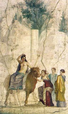 Fresco of Europa and the Bull - Bull is symbol of Zeus, from Etruscan culture, from ancient city of Pompeii, circa 150-100 BC