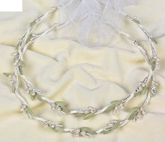 Olive Leaves Stefana Wedding Crowns From Greece Bridal Headpiece Hair Accessories Olive Leaves Pearls Wedding Crowns Stephana Tiara Greek Wedding Traditions, Groom Buttonholes, Olive Wedding, Orthodox Wedding, Matron Of Honour, Organza Ribbon, Bridal Headpieces, Handmade Wedding, Hair Pieces