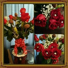 Vase of rosses and chocolate  strawberries