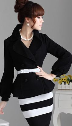 "classic black and white striped skirt with bloused black double-breasted jacket and white belt .. ""CLASS STANDS ALONE"" ..."