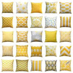 This yellow zippered pillow cover is the perfect accent for that chair in your living room! This lumbar pillow cover features the shades of corn yellow and white. Choose from many different decorative throw pillow patterns!  Cushion Cover Features: • Made to fit a LUMBAR pillow insert • Colors: yellow and white • Fabric: 100% Cotton, medium-weight fabric, slub texture • Same fabric on front and back, pattern lines up on all sides, inside edges are serged to prevent fraying • Zippered Pillow…
