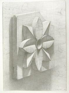 academic drawing plaster models. plaster rosette