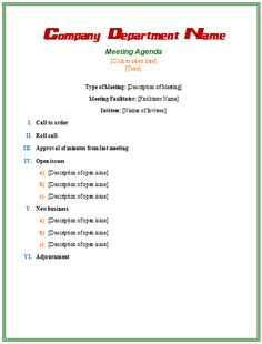 microsoft word agenda template free