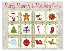 Merry Memory & Matching Game. Christmas Memory Game, Christmas Matching Game, Christmas Toddler game and activity by LilacsAndCharcoal