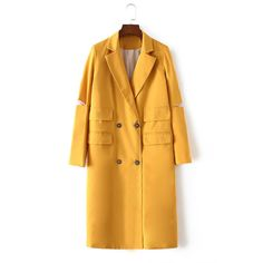 Yoins Yellow Hollow Sleeves Double Breasted Design Trench Coat (1.160 UYU) ❤ liked on Polyvore featuring outerwear, coats, yellow, yellow trench coat, double-breasted trench coats, midi coat, trench coat and leather-sleeve coats
