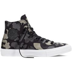 Converse Chuck Taylor All Star II Reflective Camo  –... ($45) ❤ liked on Polyvore featuring shoes, sneakers, camo shoes, camouflage sneakers, star sneakers, camouflage shoes and white black shoes
