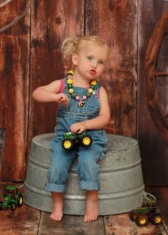 Girls Pink Tractor Chunky Necklace - Pink Green Yellow Child Size Bubblegum Necklace - Birthday Parties, Photo Prop, Farm on Etsy, $25.00