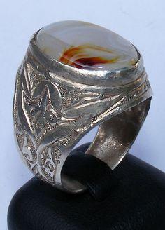 einzigartige orientalische massive silber Achat Ring Persien agate Iran No:87