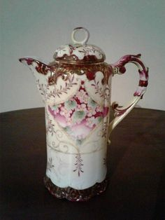 Antique Hand Painted Floral Chocolate Pot, circa 1900 - 1910. Early 20th Century Chocolate Pot or use as a Coffee Pot Teapot