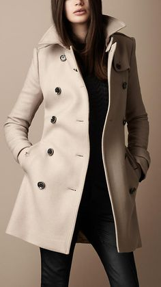 Burberry - TRENCH-COAT MI-LONG EN SERGÉ DE LAINE