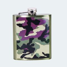 TRENDY CAMO CAMOUFLAGE 7 OZ HIP PARTY FLASK by SPOONTIQUES. $15.99. You'll fall for this hip Camo Flask in just one shot.  Keep me a secret and stash me away for later or show me off in a crowd. I'm easy going and handy in a flash. So don't be thrown off by my size, I'm a pocket shot of fun!
