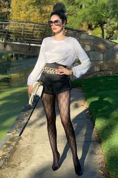 Rock silk white paired with black -Round Neck Silk Blouse→ Search 8744 in the link of bio to see~ Egirl Fashion, Autumn Fashion, Fashion Outfits, Womens Fashion, Fashion Trends, In Pantyhose, Nylons, Pantyhose Outfits, Leggings Outfit Fall