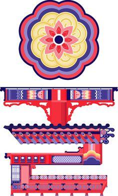 Seoul Typography on Behance Korean Illustration, Pattern Illustration, Chinese Patterns, Japanese Patterns, Graphic Design Typography, Branding Design, China Architecture, Korean Painting, Font Art