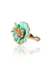 Turquoise Blossoming Flower -  Blossoming Green Flower Ring, Crystal Encrusted Center, Turquoise Matt Enamel Body,  Perfect For Cocktail Event, Gold Finishing. - Rs. 599.00