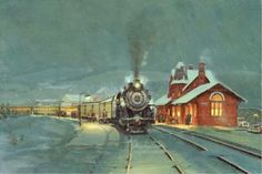 Western Maryland Railroad -  Oakland, Maryland Station - painting  - Queen Anne Style architecture  OL