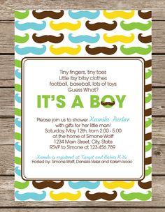 Little Man Baby Shower Invitation or Invite