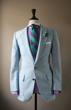 Bleu ciel / Violet / Vert / Blanc // I found what I'm going to use the day of my wedding with Suit Up, Suit And Tie, Light Blue Suit, Wedding Suits, Wedding Attire, Well Dressed Men, Looks Style, Men Looks, Dress Codes