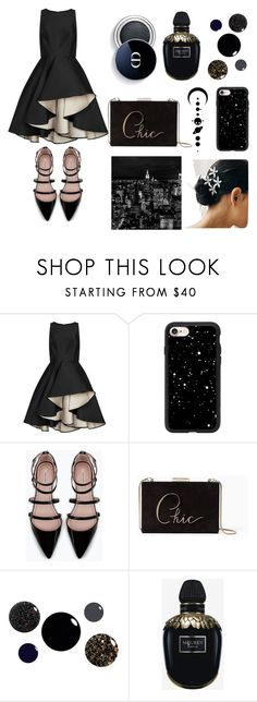 """""""black night !! 🌚🌌"""" by sha-shu on Polyvore featuring Halston Heritage, Casetify, Zara, Kate Spade, Alexander McQueen, chic, black, date and Night"""