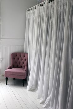 Smart Closet Idea: Curtain Doors With Chair