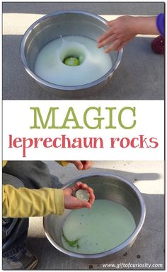 Patrick's Day activity} Bring a little magic to St. Patrick's Day by making magic leprechaun rocks that fizz and dissolve when washed, leaving leprechaun gold behind. March Crafts, St Patrick's Day Crafts, Diy Crafts, Holiday Crafts, Crafts Cheap, Blue Crafts, Holiday Fun, Preschool Science, Science For Kids