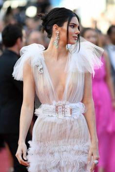 Kendall Jenner at Cannes Film Festival 2018 in Schiaparelli tule dress.